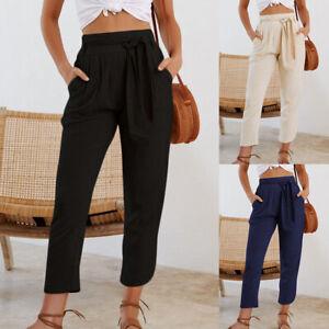 Womens Casual Trousers Ladies Cotton Linen Pockets Tracksuit Soft Bottoms Pants