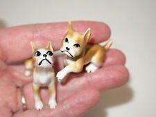 Vtg Brown Boston Terrier miniature bone china Shiken