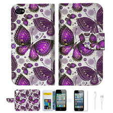 Purple Butterfly Wallet Case Cover For Apple iPhone 4 4S -- A017