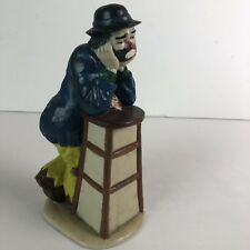 Emmett Kelly Jr Figurine Flambro Clown Stool Ceramic Sad Leaning Clown