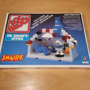 Vintage 1982 Entex Loc Blocs Dr. Smurf's Office No. 1475 NEW OPEN BOX