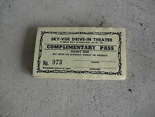 Mid 1900s Sky-Vue Drive In Theatre Complimentary Pass Ticket