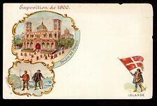 1900 Flag of Islande Iceland at Paris Exposition France vignette postcard