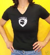 CORSE au féminin: T.SHIRT femme NOIR Corsica blanc tête de maure