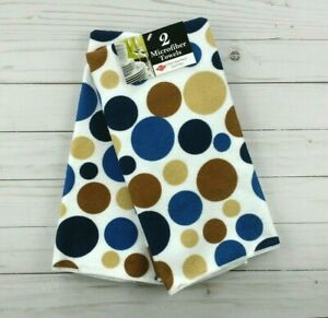 Kitchen Towels Polka Dots Blue Brown Microfiber Set of 2