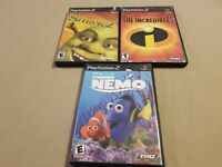 Lot of 3 PS2 (Playstation 2) Shrek 2, The Incredibles, Finding Nemo All Tested