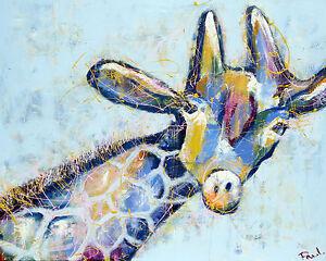 MASSIVE Graffiti Street Art  Giraffe  Print Large Canvas Painting andy baker