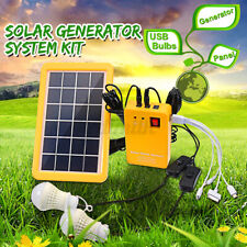 Solar Power Panel Generator System +2 Led Blub Charger Home Outdoor Garden Light