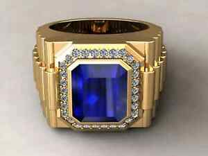 14K Yellow Gold Plated Men's Rolex Halo Engagement Wedding Ring 3.02 Ct Sapphire