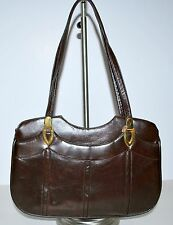 Vintage Lou Taylor Leather Handbag Purse Swing Out Mirror Brown 70's Very Nice