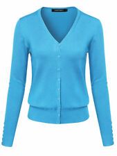 Fashionoutfit Women's Basic Solid V Neck Cuff Button Sweater Cardigan Layer Top Sky Blue Regular XL