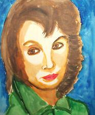 Vintage expressionist watercolor painting woman portrait