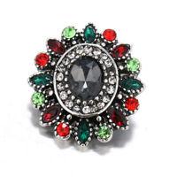 10pcs 18mm Flower Rhinestone Alloy Snap Buttons Fit Noosa Snap Bracelet N663