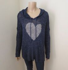 Abercrombie Womens Knit Sweater Hoodie Size XS/S Navy Blue Top Shirt Heart