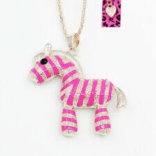 Betsey Johnson Hot Pink Enamel Crystal Cute Zebra Pendant Sweater Chain Necklace
