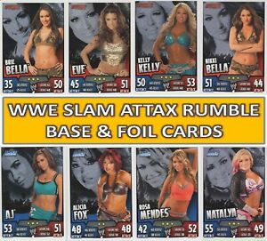 Topps WWE Slam Attax RUMBLE - Choose your BASE & MIRROR FOIL cards