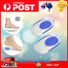 Stop Heel Pain Fast Gel Plantar Fasciitis Spur Pad Cup Insole Support blue heel