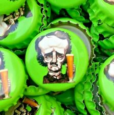 100 ((Poe [Green] Raven Brewing)) Beer Bottle Caps (No Dents). Free Shipping