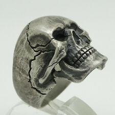 Biker Sterling Silver Harley Skull Ring Davidson Size Full Jaw Man by UNIQABLE