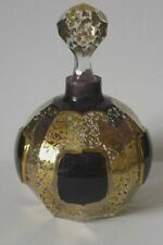 Moser Deep Purple Cabouchon With Gilded Decoration Bohemian Glass Scent Bottle