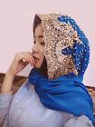 Women Bling Beaded Scarf Cap Lace Scarves Muslim Wedding Wrap Head Hijab Scarf