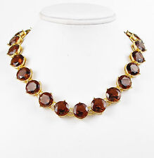 LAUREN Ralph Lauren Smoky-Topaz Crystal Faceted Gold-Tone Collar Necklace $78