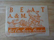 1940 University Of Texas -Austin UT Beat A&M Sticker Hemphill's Book Store Ad