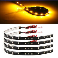 4x 30cm Orange Amber Waterproof 15 LED Flexible Car Grill Strip Light Lamp Bulb