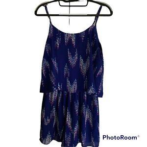 Everly Anthropologie Women's Size Small Blue Print Sleeveless Romper