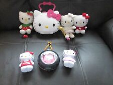 SELECTION OF HELLO KITTY TOYS 3 SOFT TOYS/CARRY CASE/WALKIE TALKIES/BADGE MAKER