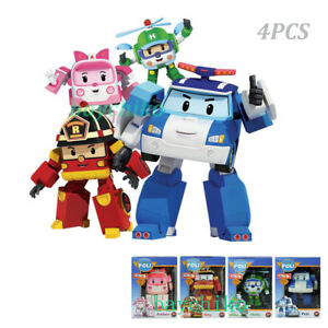 4PCS Robocar Poli Roy Amber Helly Transformer Robot Figures Academy Set Toy Gift