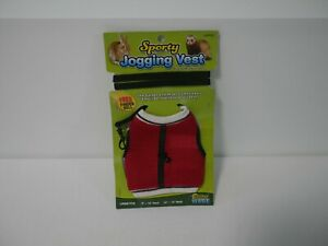 Red Sporty Jogging Vest Harness And Leash For Small Pets - Large (5B1)