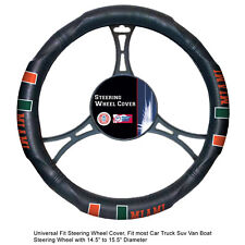 NCAA Miami Hurricane Synthetic Leather Extra Grip Car Truck Steering Wheel Cover