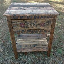 End Table/Bedside Table with Cabinet - Reclaimed Pallet Wood - Vintage Rustic Lo