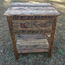 End Table/Bedside Table with Cabinet - Reclaimed Pallet Wood - Vintage Rustic