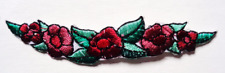 IRON ON PATCH APPLIQUE - FLORAL STRIP RED