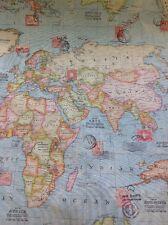 WORLD Map ATLAS 100% COTONE PANAMA Look Lino Tessuto al metro