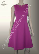 IVANKA TRUMP Women Dress Size 8 FUCHSIA Knee METAL ACCENT Sleeveless NEW LBCUSA