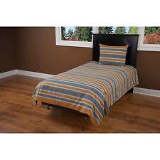 Rizzy Home Full-Size Grey Comforter Blanket Bedding Set Grey/Orange Striped