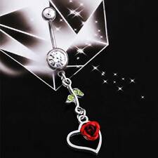 New Red Rose Belly Button Ring Barbell Navel Body Piercing Jewelry Summer Gift