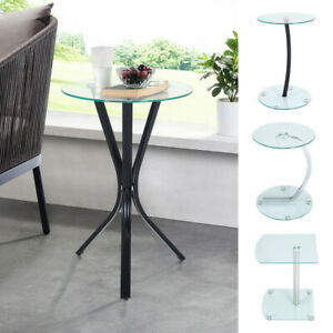 Small Glass Telephone Table Plant Stand Bedside Hall Lamp Sofa Side End Table UK
