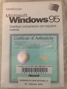 """New Spanish Microsoft Windows 95 Full Operating System 3.5"""" Diskettes and Manual"""