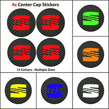 4x SEAT Badge Logo Carbon Center Caps Alloy Wheel Hub Stickers Ibiza Leon Altea