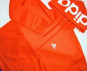 Adidas Womens S 1/4 Zip Sweatshirt Hoodie Shirt Top Long Sleeve Pullover Orange