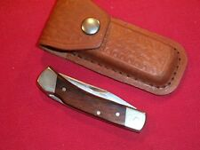 Vintage Uncle Henry L85 Small Folding Wood Knife Handle W/ Orig Sheath Used