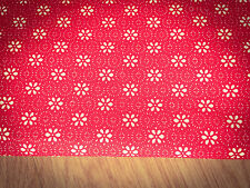 Flowers on Red Shabby Chic 100% Cotton Fabric. 140x60cm