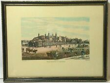 ANTIQUE R. HAVELL & SONS TOWER OF LONDON WOOD FRAMED PRINT PUBLISHED JUNE 1821