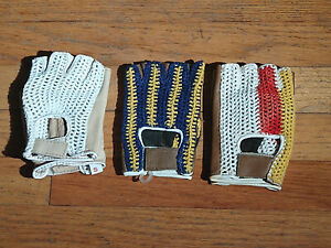 Cotton & Leather Vintage Crochet Knit Back Cycling Gloves for Eroica New