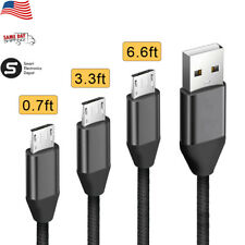 .7/3/6Ft Braided Micro USB 2.0 Fast Charging And Data Sync Cable For Cell Phones