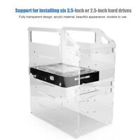"""3.5"""" Six-layer Acrylic HDD Placement Holder Desktop Computer Hard Drive Case SPS"""